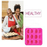 Wholesale Muffin Baking Pans - Factory Flower Shape Muffin Case Candy Jelly Ice Cake Silicone Mould Mold Baking Pan Tray 21.4*16*2.5CM