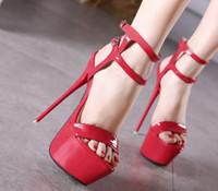 Wholesale Transparent Platform Heels - Wholesale-Fashion high-heeled shoes 20cm thin transparent crystal platform heels high-heeled shoes wedding shoes sandals size 35-40