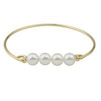 Wholesale Pearl Bangles Designs - Latest Designed Gold Color Artificial Pearl Plain Bangles for Women
