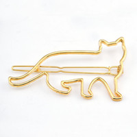 Wholesale wedding hair side - Women Girls Fashion Bobby Pins Hollow Out Cat Hair Clip Side Hairpin Wedding Party Hair Accessories Wholesale 12 Pcs