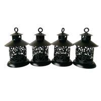 Wholesale Metal Wedding Candle Lanterns - classic style Metal cheap souvenir candle holder house Tea Light Holder Wedding decoration Iron lantern Black color Candle Holder