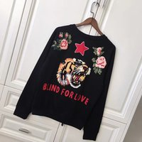 Wholesale Hoody Towel - Europe Autumn Fashion Blind For Love Men Women Luxury Hoody Sweatshirts Towel Embroidery Tiger Flower Stars lover Pullover Hoodie