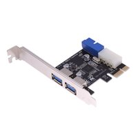 USB3.0 PCI-E Erweiterungskartenadapter Externer 2 Port USB3.0 Hub Interner 19pin Header PCIe Karte 4pin IDE Power Connector