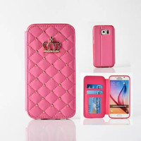 Wholesale Diamond Leather Flip Phone Cover - Luxury Rivet Glitter Rhinestone Diamond Crown Case Flip Leather Wallet Cases Cover Phone Bag For iPhone 6 6S 7 Plus Samsung S8 Plus S7 edge