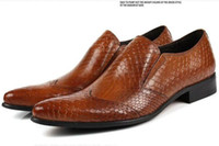 Wholesale Commercial Career - 2017 New Style Fashion Men Formal Dress Commercial Genuine Leather Carved Breathable Bussiness Slip-On Brown Black High Top Quality GX80