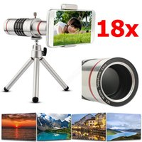 Wholesale Iphone 4s Lens Kit - High Quality 18x Zoom Optical Telescope Telephoto Lens Kit Phone Camera Lenses With Tripod For iPhone 6s 7 8 Plus 5s SE 4S