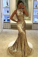 ingrosso eleganti abiti da sirena in oro-2018 New Elegant Long Silver Gold Sequined Prom Dresses Halter Mermaid Abito da sera Backless vestido de festa