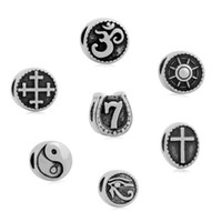 Wholesale Om Beads - comejewelry Cross OM Yoga Religious Horus Eye Message compass Charms Stainless Steel Jewelry Beads Charms Fit Pandora Bracelet