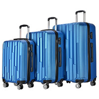 Wholesale Wholesale Carry Luggage - 3 Piece Lightweight Carry on Luggage Set wheel spinner Suitcase (20 + 24 + 28 inches) Travel Suitcase ABS School Rolling Trolley Sky Blue