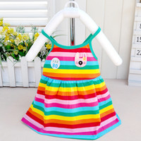 New Fashion Summer Baby Girl Harness Dress Skirt Cotton Stripe Arcobaleno Sweet Kids Bambini Habies Halter Princess Abiti MSG088
