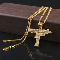 Wholesale Hunter Gun - Hip Hop Man Hunter Diamond Pendant Necklace Fashion Cool Gun Pendant Necklace
