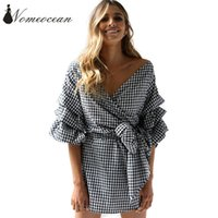 Wholesale Girl S Vogue Dress - Vogue Plaid Wrapped Dresses Puff Sleeve Color Block Women Dress 2017 Summer Tied Belted Waist Brand Dresses of Girls M17080814
