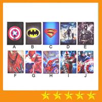 Wholesale Ipad Batman - Superhero Superman Batman Amazing Spiderman Flip PU Leather Case For ipad mini1233 ipad 234 Air 5 Samsung T530 T550