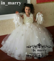 Wholesale Candy Shirts For Girls - Candy 3D Floral Flower Girls Dresses for Weddings 2017 Ball Gown Lovely Cheap Kids Pageant First Communion Birthday Party Gowns For Toddlers
