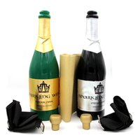 Wholesale New Vanishing Champagne Bottle magic tricks LATEX Black or Green Wine Bottle Stage close up Magic Trick Props Gimmick