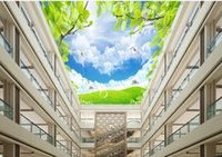 Wholesale mural definition - wallpapers for living roomcustom 3d ceiling murals wallpaper High-definition green tree clouds flying pigeons 3d sky ceiling photo wallpaper