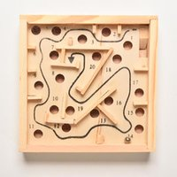 Wholesale Wood Maze Puzzle Game - Wholesale- Solitaire Game Wooden Puzzle Toy Maze Board Kids Children Education Learning Intelligence Game Classic Labyrinth Balance Board