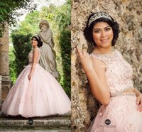 Wholesale Debutante Gowns Tulle - Pink Two Pieces Debutantes Party Queen Dresses Ball Gown with 3D Appliques Beads 2017 Sweet 16 Quinceanera Dresses Plus Size Crew Lace Tulle