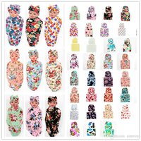 Wholesale Grey Newborn Hat Knitted - Free DHL Newborn Baby Swaddle Blanket with Bow Hat Cap Girls Infant flower print Swaddling Robes Soft Cotton Wrap Cloth 38 Colors BHBZ03