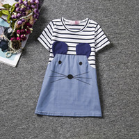 Wholesale mouse clothes - cute mouse girls dress striped baby girl cotton match wash blue denim kids skirts 2017 summer children clothing