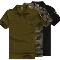 ingrosso corti di camuffamento dell'esercito militare-Uniforme militare verde militare cotone Polo Camicie uomo manica corta Camouflage Sportswear Combat Tactics Tops Maschio