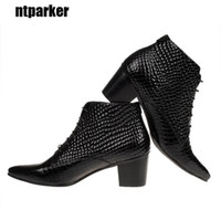 Wholesale High Elevator Shoes Men - 6.5 CM Heels British style Men Fashion boots Genuine Leather Pointed Toe Ankle boots Male elevator shoes, big size 46