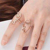 anel de ouro 2pcs venda por atacado-2 Pçs / set Personalidade Banhado A Ouro Étnico Na Moda Rosto Anéis de Dedo Set Para As Mulheres Verão Praia Moda Jóias DH318