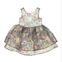 Wholesale Patterned Flower Girl Dresses - Flower Girls Dresses Baby Clothes Floral Pattern Summer Cotton Sleeveless Princess Tutu Skirt Brand Infant Girl Clothing