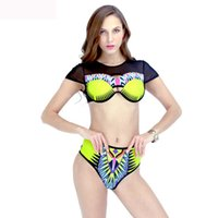 Wholesale Indian New Sexy - The new 2017 bikini sexy backless Indian totem printing shoulder tall waist bikini swimsuit dress