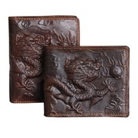 Wholesale Imported Photos - Wholesale- Genuine leather Men Wallet Dragon Pattern High Quality Purse Male Fashion Style Dark Brown Imported wallets Free Shipping