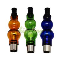 Wholesale Ego Cartomizer Wax - Gourd Glass globes Atomizer Tanks cartomizer Electronic Cigarette Wax Vaporizer Dry Herb 510 eGo Thread fit eGo Twist Battery