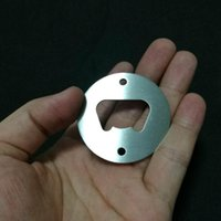 Wholesale bottle shaped opener - Stainless Steel Bottle Opener Part With Countersunk Holes Round Or Custom Shaped Metal Strong Polished Bottle Opener Insert Parts