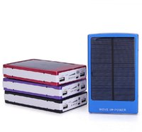 Wholesale mobile solar charger for laptop - Dual USB Solar Battery Chargers High Capacity 30000mAh Portable Solar Energy Panel Charger Power Bank For Mobile Phone PAD Tablet MP4 Laptop