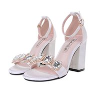 Wholesale Crystal Ankle Strap Shoes - 2017 Black white satin crystal gem ankle strap thick high heel wedding shoes women sandals size 34 to 39
