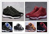 Wholesale Mens Pu Leather - Discount Retro (11)XI Space jam Legend blue black Velvet 72-10 Basketball shoes Mens Sports shoe Retro 11s bred woman Sneaker free shippment