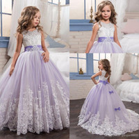 Wholesale Girls First Birthday Party - Lilac Tulle Sleeveless Lace Flower Girl Dresses For Wedding With Bow Ball Gown First Communion Christmas Pageant Party Wears 2017 Cheap