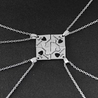 Wholesale Friendship Birthday Gifts - 4Pcs BFF Charm Jigsaw Puzzle Pendant Necklaces Leterring 'Best Friends Forever 'Friendship Happy Birthday Gift for Women Men