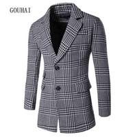 Turn-down Collar cashmere overcoat men - Wool Coat Men Peacoat Plaid Winter Mens Jackets Long Brand Clothing Chaqueta Hombre Wool Blends Men Cashmere Overcoat