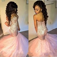 Wholesale Long Sparkly Corset Dress - 2017 Sparkly Crystal Beaded Pink African Prom Dresses Mermaid Black Girls Luxury Party Dress Corset Long Formal Evening Gowns