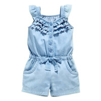 Wholesale Denim Baby Rompers - Wholesale- 0-5Y Pro Kids Girls Clothing Rompers Baby Denim Blue Cotton Washed Jeans Sleeveless Bow Cute Jumpsuit