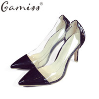 Gamiss High Heels Damen Sandalen Spitz Zehen Dame Thin Heel Pumps Stiletto See-through Red Bottom Farbe Block Lady Dress Schuhe