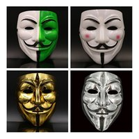 Wholesale Masquerade Masks Guys - V mask Vendetta white yellow Mask Anonymous Guy Fawkes Fancy Adult Costume Halloween Masks Masquerade V Masks For Halloween IC534