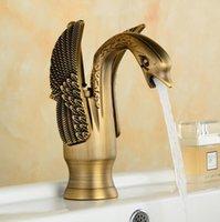 Wholesale Gold Basin Faucet - Wholesale- Antique Kitchen Faucet Gold Brass Basin Faucet Hot And Cold Water Tap Deck Mouted Pure Brass Mixer Swan Design Kitchen Faucet