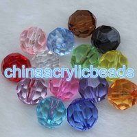 Wholesale Acrylic Bead Faceted - Wholesale 1000pcs 4MM Acrylic Crystal 32 Faceted Round Gumball Beads Transparent Bubblegum Bead Charms