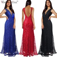 Varbpoo_elsa 2017 sommer frauen casual sexy sleeveless spitze abendgesellschaft dress weibliche elegante backless lange maxi dress rot vestido de festa