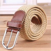 Wholesale Leather Fabric For Belt Wholesale - Wholesale- High Quality New Brand Striped Men Belts Fashion Fabric Woven Belts For Men Casual Elastic Belts For Men