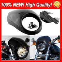 Wholesale sportster 883 xl resale online - Universal Headlight Plastic Front Visor Fairing Cool Mask Bezel For Harley XL1200 Dyna Sportster FX XL Motorcycle Car Styling Headlamp