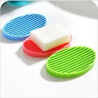 ingrosso cucine da bagno-Sapone flessibile Piatti in silicone Portasapone per il bagno Home Bagno Wc Kitchen Storage Soapbox Case Vassoio Bath Candy Color