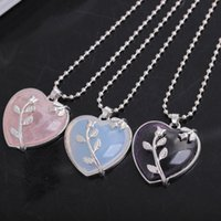 Wholesale 24 Rose Gold Necklace - Elegant Dark Purple Pink Rose Opal Quartz Heart Flower Pendant Necklace With Free 24 Inches Chains For Women Valentine'S Day Gifts