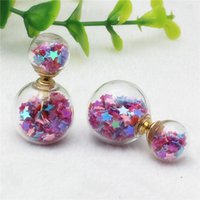Wholesale Small Stud Earrings Animals - 2017 new Design double imitation pearl Starry temperament small fresh retro fashion sequins high-grade glass earrings for girls